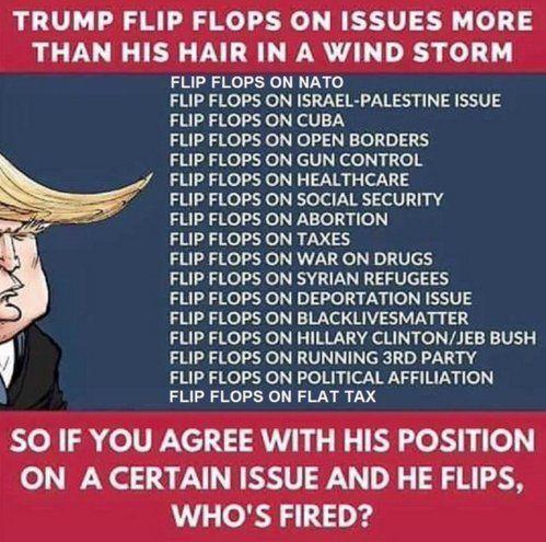 Image result for trump flip flops