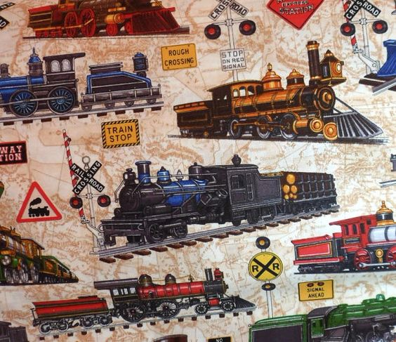 Train fabric craft ideas pinterest fabrics yards for Fabric with trains pattern