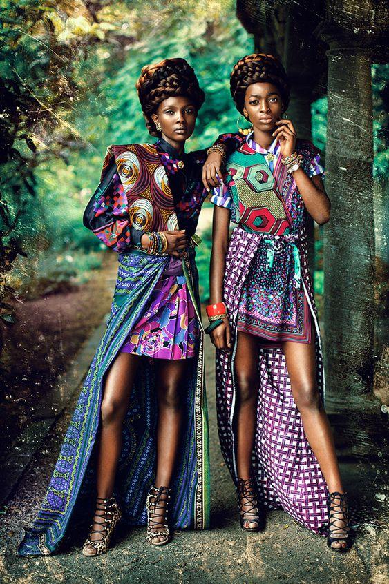 """Zion Tribe"" | Models Aliane Uwimana Gatabazi and Rachelle Mongita | photographed by Maëlle André for MOTEL Magazine #print #editorial #ankara:"
