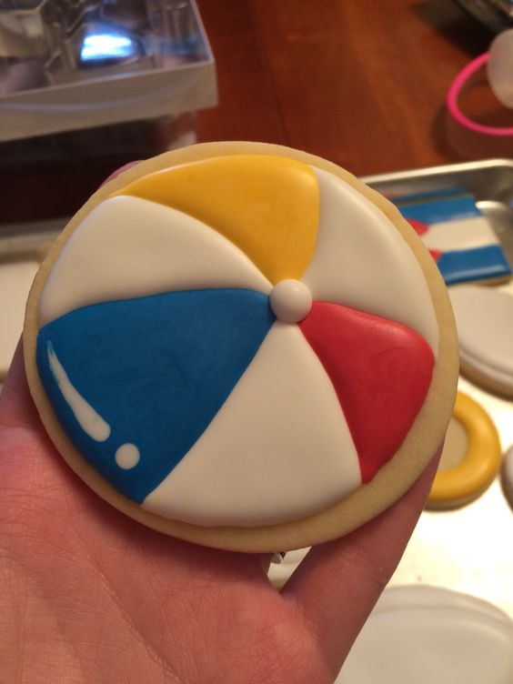 Beach ball cookie 2015   My Sugar Cookies   Pinterest ...