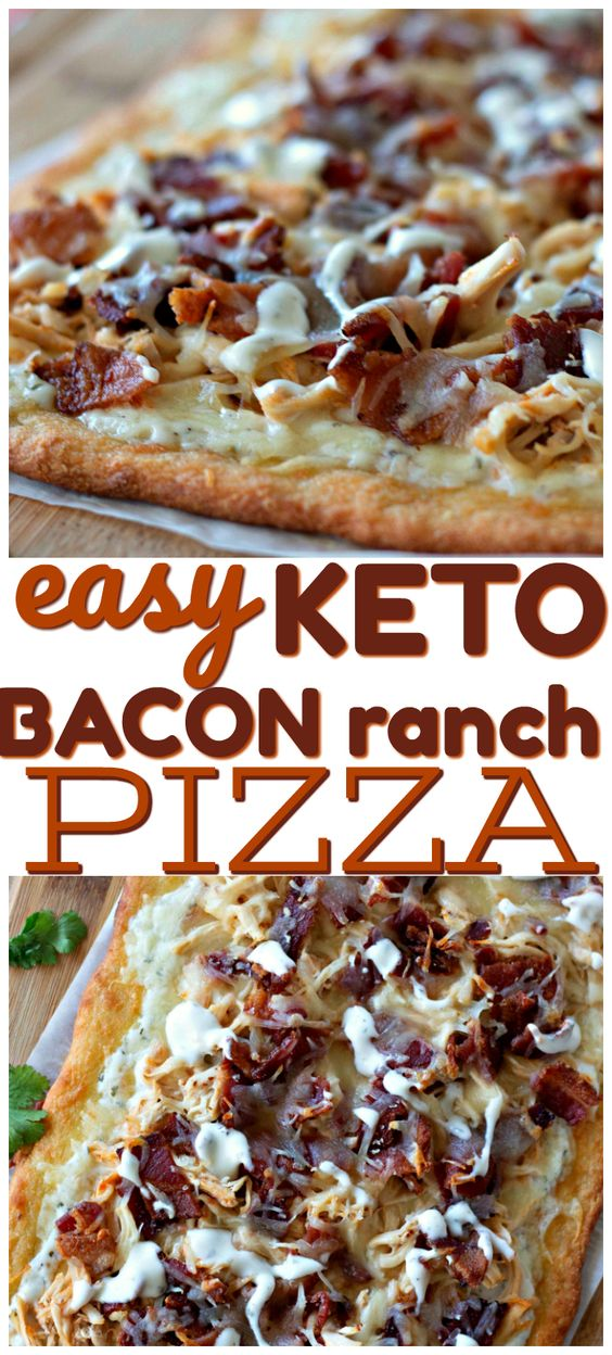 Easy Keto Bacon Ranch Pizza- If you are craving low carb pizza you'll' want to try this easy pizza with Chicken, bacon, ranch and more. Perfect ketogenic diet recipe for dinner or lunch.