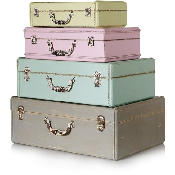 There aren't many storage boxes that command as much attention as these glorious, wooden suitcases in a vintage style with a distressed, paint finish. The gorge...