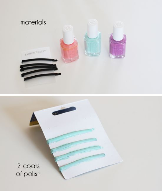 DIY Colored Bobby Pins - I did this, and it worked amazing! Even if you use normal bobby pins the color shows great.