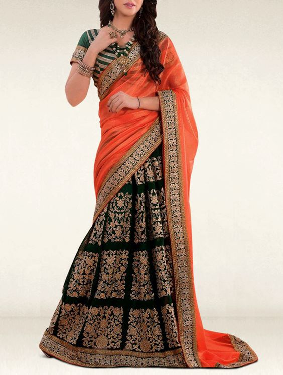 Incite your admirers to bask in your glory with this green and orange georgette designer lehenga saree.
