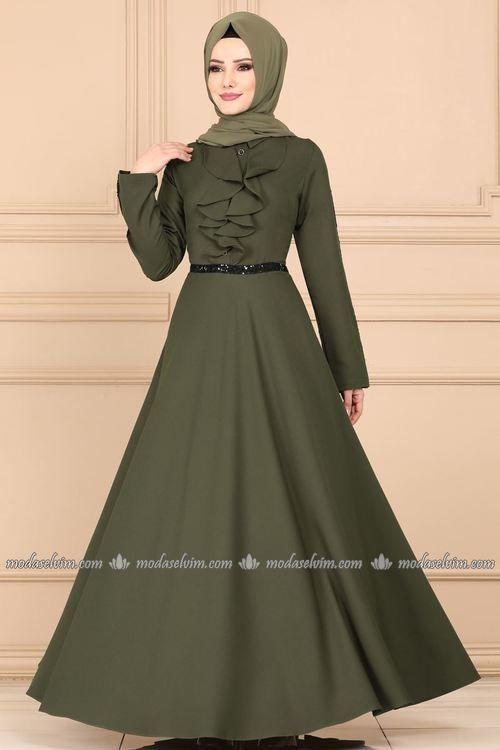 Modaselvim Elbise Onu Firfirli Elbise 81660bn105 Haki Moda Stilleri Elbise Elbiseler