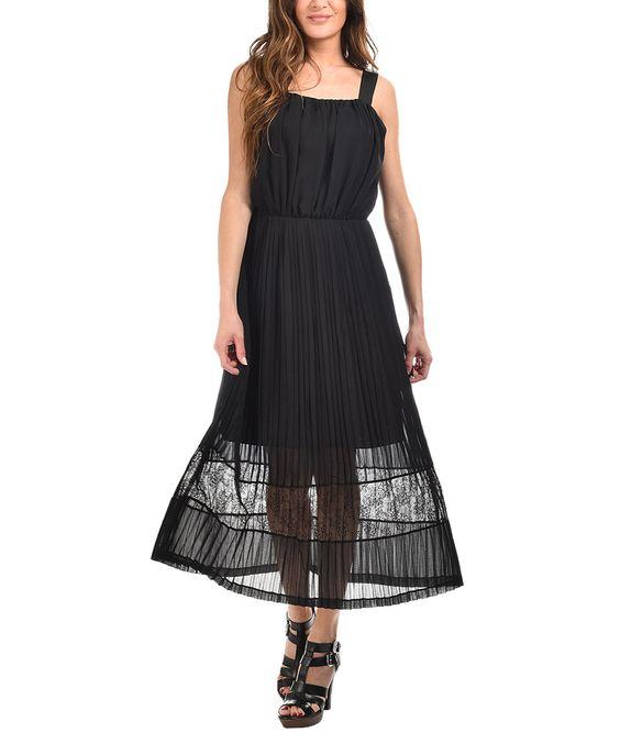 Look at this #zulilyfind! Cicero Black Pleated Midi Dress by Cicero #zulilyfinds