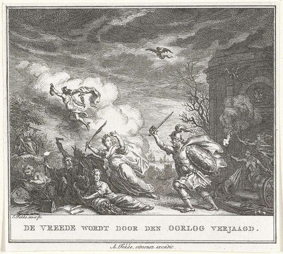 Simon Fokke | Vrede door Oorlog verjaagd, Simon Fokke, 1774 - 1784 | De personificatie van de Vrede slaat met haar palmtak op de vlucht wanneer de Oorlog haar, met hulp van duivelse figuren, met schild en zwaard achtervolgt. In de lucht vliegt Mercurius weg.