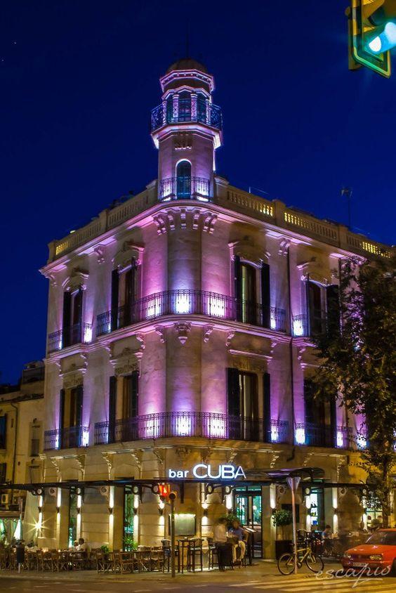 Hotel Hostal Cuba by night. Mallorca, Palme de Mallorca, Spanien. Balearen