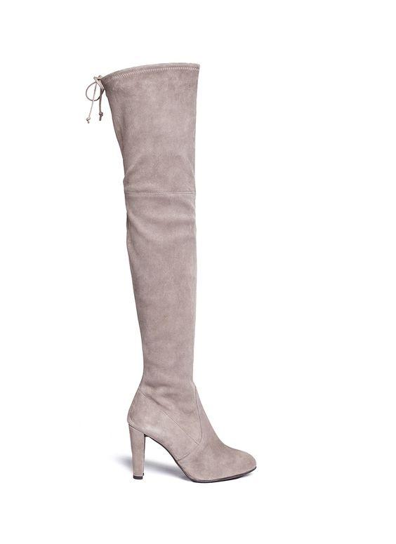 STUART WEITZMAN 'Highland' Stretch Suede Thigh High Boots. #stuartweitzman #shoes #boots