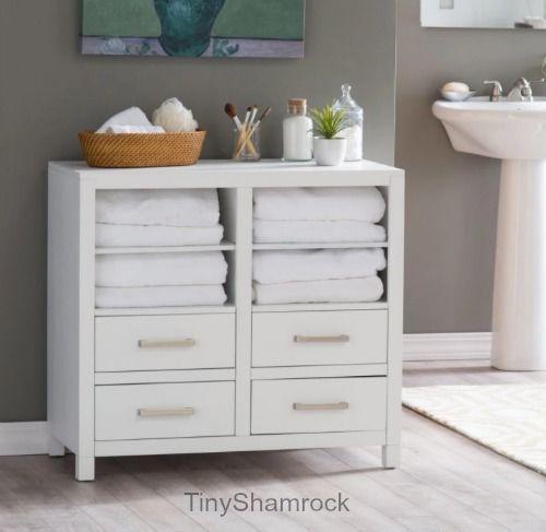 Bathroom Floor Cabinet Storage Chest Towel Linen Shelves Bath