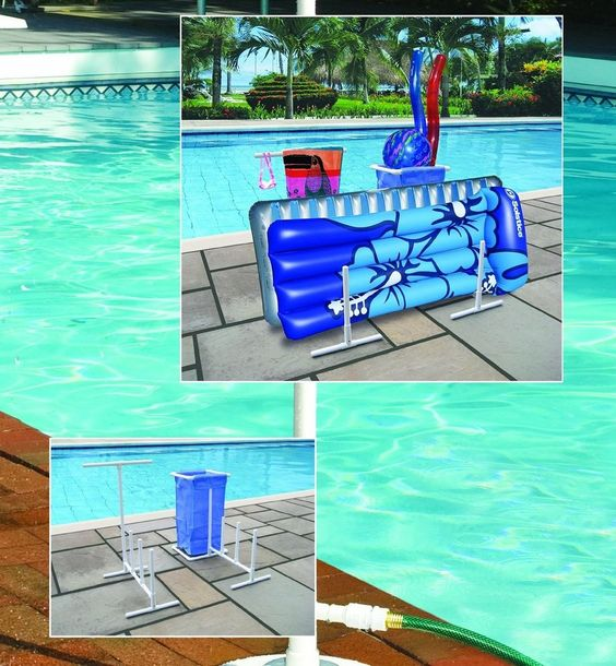 Swimming pool side floats towel suits toys poolside for Swimming pool storage ideas