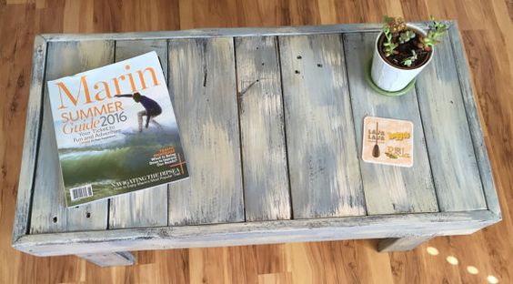 "36"" x 18"" x 18"" Pallet Coffee Table - love this beachy look!"