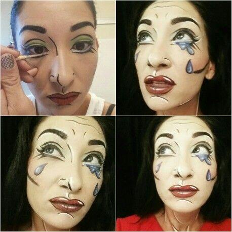 Pop art makeup in progress by Terra Maxwell @glamgalmaxwell www.glamgalmaxwell.com  Base: Garnier BB Creme in med/light All Paints by Kryolan Official  #popart #popartmakeup#beauty #halloweenmakeup #costume #cosplay #costumeideas #mua  #popartface #followme #glamgal #terramaxwell #glamgalmaxwell #artist #art #original #work #mua