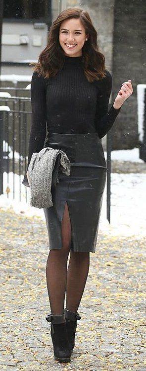 #winter #fashion /  Black Turtleneck / Black Leather Skirt / Black Booties / Black Tights: