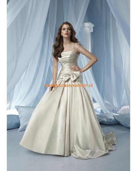 2012 elegantes Brautkleid aus Taft mit Schleife  Spaghetti-Trägern