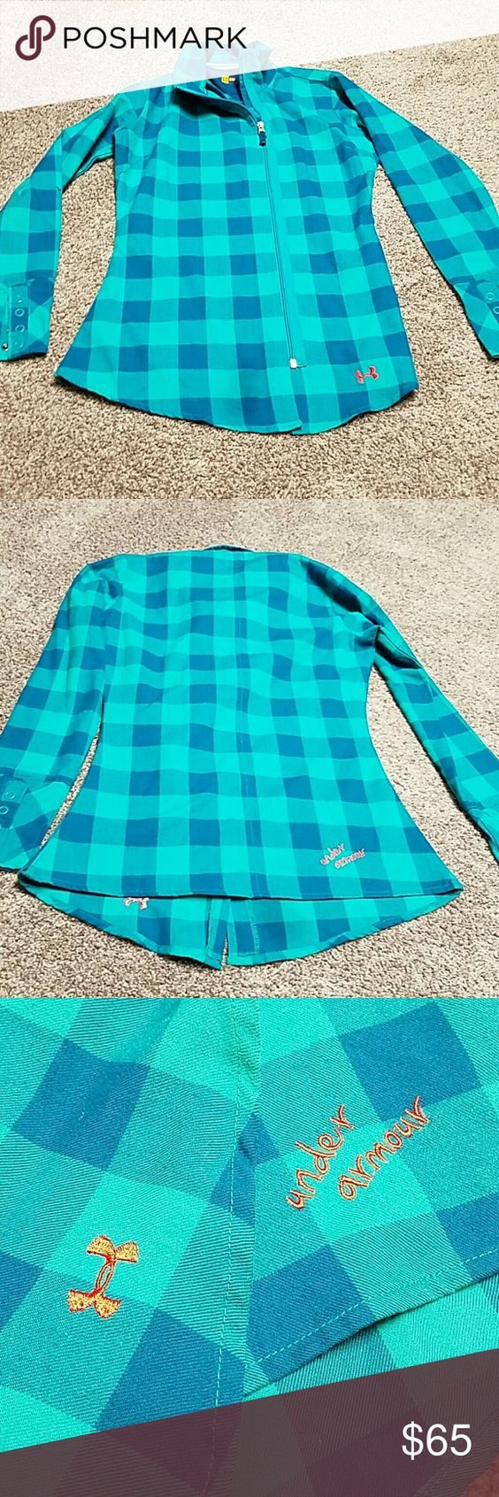 Under Armour Full Zip Fitted Flannel S Love the colors on this with the punk under Armour logos. Very feminine. Fits nicely at waist. NO TRADES PLEASE DON'T ASK ME! Under Armour Tops Tees - Long Sleeve