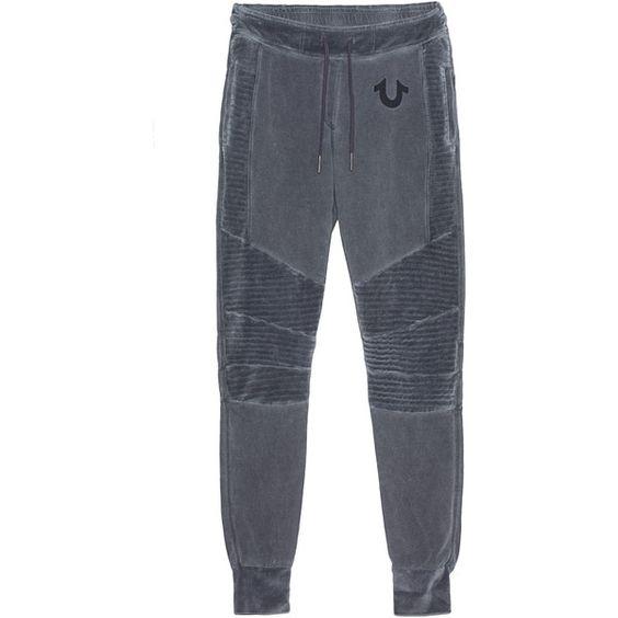 TRUE RELIGION Pant Bike Jet Black // Sweatpants in biker look ($160) ❤ liked on Polyvore featuring activewear, activewear pants, slim sweat pants, drawstring sweatpants, biker sweatpants, cuff sweatpants and print sweatpants