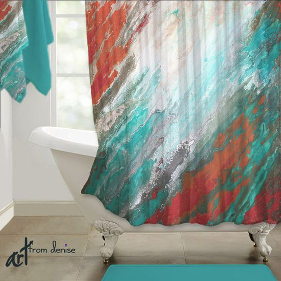 Bathrooms decor wall hangings and originals on pinterest for Teal and gray bathroom ideas