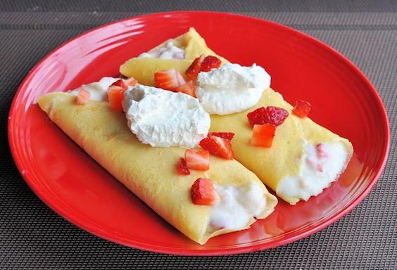 Strawberry Banana Breakfast Crepes with fresh fruit, organic yogurt ...
