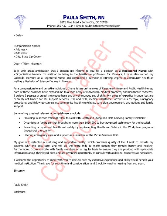 Cover Letter For New Graduate Nurse Sample Cover Letter Registered