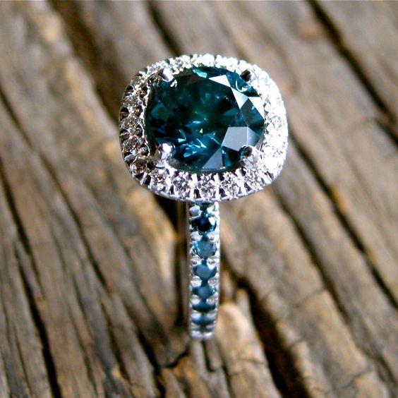 Teal Blue Diamond Engagement Ring in 14K White Gold with Diamonds in Halo-Style Setting Size 6 by SlowackJewelry on Etsy https://www.etsy.com/listing/280801794/teal-blue-diamond-engagement-ring-in-14k
