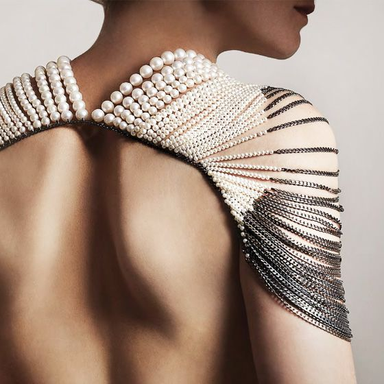 Melanie Georgacopoulos | pearl body jewelry, imagine with a stripe less little black dress. How to be magnificent !