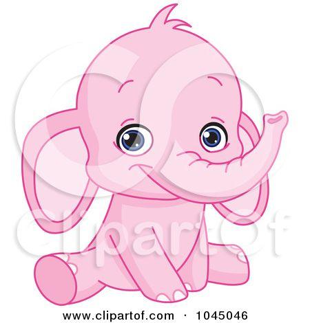 Cute Pink Elephant Holding Balloons Stock Vector - Image ... |Cartoon Baby Elephant Pink