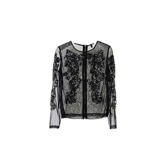 Black Sequins Flower Shirt ($62) ❤ liked on Polyvore
