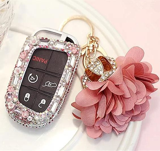 Bling Bedazzled Jeep Dodge Key Fob Cover With Rhinestones Pink For Cherokee Wrangler Bling Car Accessories Car Bling Car Accessories For Girls