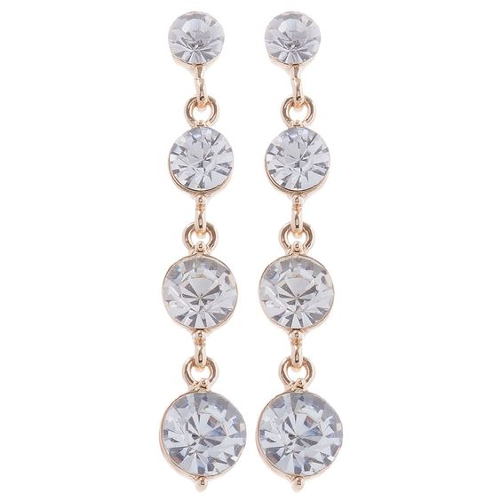 Circle Crystal Drops Earrings - 32102 - from @colettehayman (AUD $2.50). #Gold #Diamante #Diamond