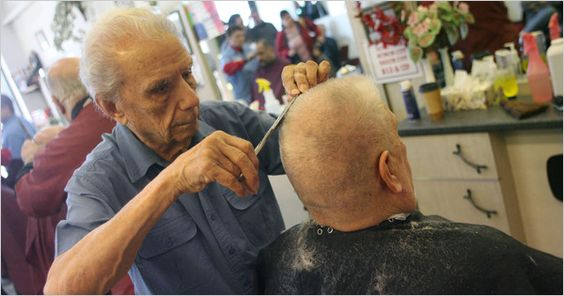 World's Oldest Working Barber. Anthony Mancelli 104 years old. He dreamed of becoming a surgeon, but ended up a barber, starting as a barber assistant in 1921. http://www.pinterest.com/Hotonbeauty/world-records-beauty/