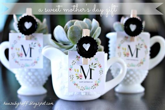 milk glass succulent mother s day gift, crafts, succulents, A sweet gift