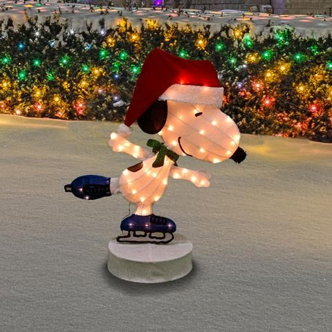 36 2d Motorized Rotating Lighted Soft Tinsel Skating Snoopy Sculpture Outdoor Christmas Decorations Snoopy Christmas Snoopy Collectibles