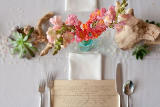 table setting with grape wood & wild flowers  | Photography by Debra Gulbas
