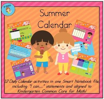 Interactive Calendar for Smart Board perfect for summer snow make up days, transition sessions, or remediation sessions. Grades Pre K, K, 1st, 2nd