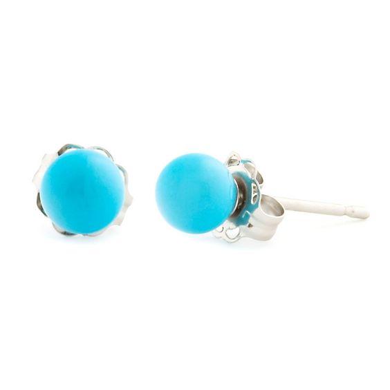 4mm Turquoise Ball Stud Earrings 14K White Gold - Trustmark Jewelers