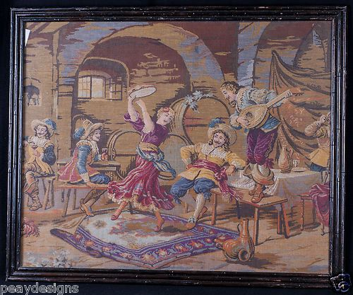 Vintage Framed Tapestry Spanish Renaissance Medieval Needlepoint Art 32 x 26 | eBay    149.99