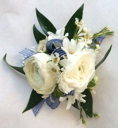 Ranunculus and hyacinth wrist corsage.