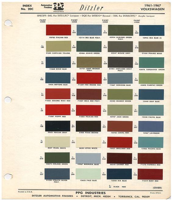 1962 Volkswagen Colors | VWs | Pinterest | Volkswagen, Impresionante y Escarabajos vw