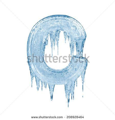 Letter C. Ice font isolated on white background. Alphabet.