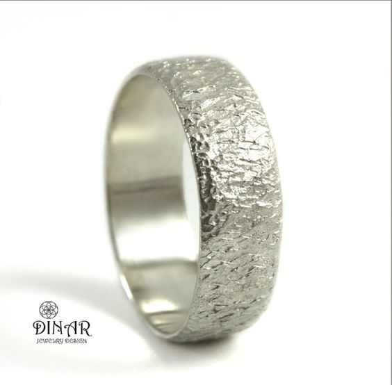 Thick White Gold wedding band,14k white Gold Hammered Wedding Band , Textured wedding ring band, unisex gold ring ,nature inspired ,chiseled