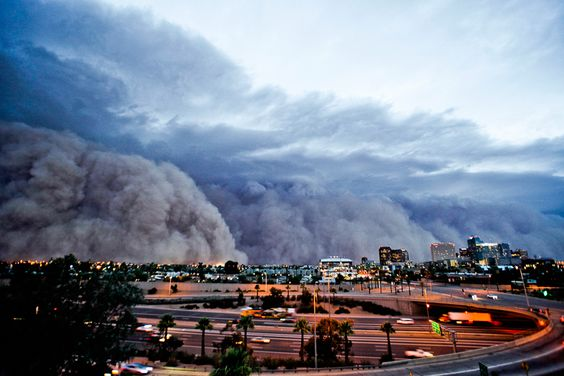 On July 5th a historic dust storm, or haboob, approaches downtown Phoenix, AZ. The wall of dust, which was estimated to be 70 miles long and over a mile high, moved at speeds of 35mph and had gusts up to 60mph.