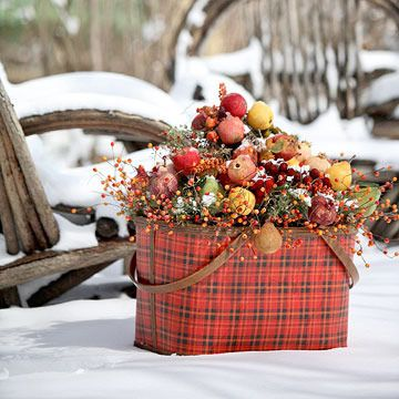 Pretty in Plaid  --  Winter may not be the time for a picnic, but don't store your picnic basket yet. This pretty plaid basket is filled with twigs secured in florist's foam and topped with frosted silk fruits and berries. This colorful arrangement works well inside and out.