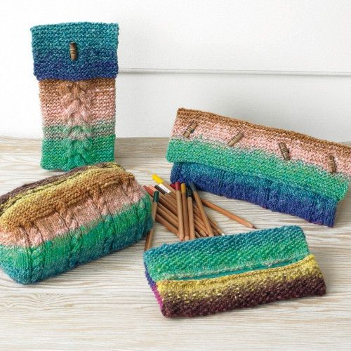 Jazz up the office or school desk with Noro pencil cases taking up to 100g of Ayatori.: