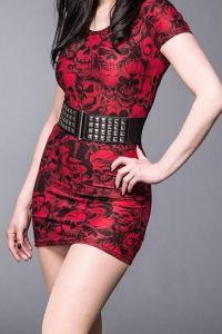 Queen of Darkness - Gothic Taillengürtel mit Pyramiden-Nieten