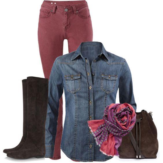 CAbi Fall 2014....Bordeaux Skinny Jean, McQueen denim shirt, and Bisou scarf.  LOVE!!! www.michellewilliams.cabionline.com