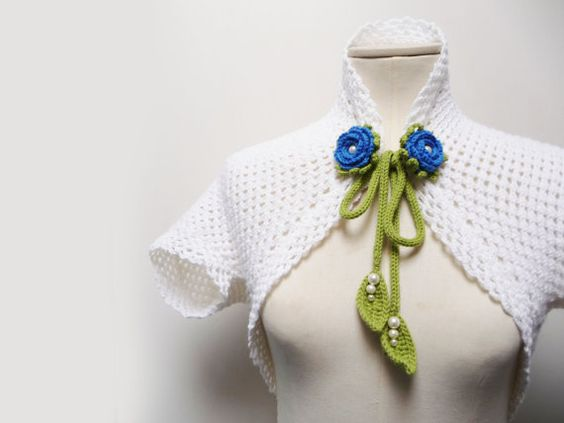 Knit White Shrug Bolero  Women Sleeveless Jacket with by ixela