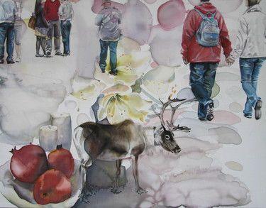 "Saatchi+Online+Artist+Sabina+Sinko;+Painting,+""passers+-+by+L2""+#art"