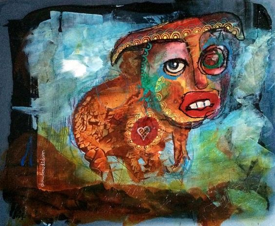 Holy cow. (Peinture),  19x19 cm par Doudoudidon peinture sur morceau de plaque offset d'imprimerie de récupération Signé Doudoudidon par Loïc Tarin 2016