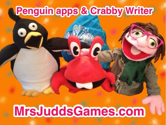 "Puppet artist, Kim Chelf, created characters from your favorite apps. Shown here: ""Crabby Writer"" & Penguin app puppets. http://www.mrsjuddsgames.com/games/"